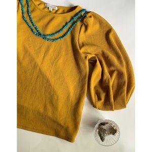 Green Envelope :: mustard puff sleeve blouse